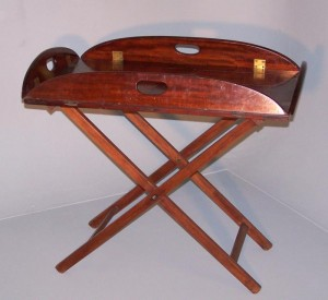 Mahogany butlers tray with folding stand