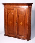 Late 18th century oak corner cupboard