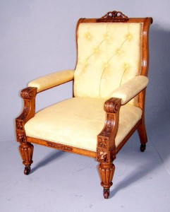 Oak upholstered arm chair