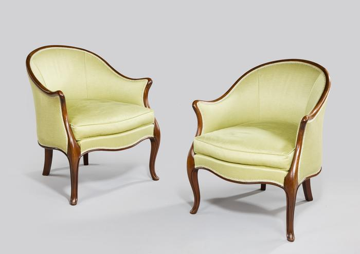 Pair Tub chairs image 1 Pair Tub chairs image 2 - Pair Tub Chairs - Summers Davis Antiques & Interiors