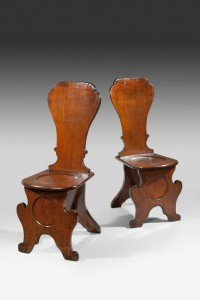 Pair of George II hall chairs