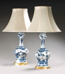 Pair large Delft Lamps