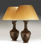Pair faux bronze lamps