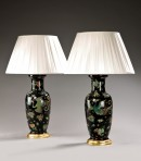 Pair famille noir vases as lamps