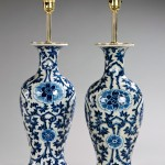 Pair blue & white vases as lamps
