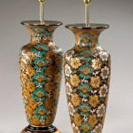 Pair Royal Doulton vases, as lamps