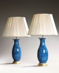 Pair of blue & white antique vase lamps ~ SOLD