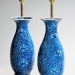 Pair of blue & white antique vase lamps