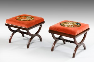 Pair of Regency 'X' Framed Stools