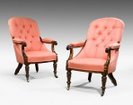 Antique, Pair Library Armchairs