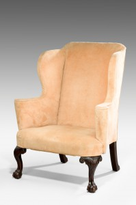 Antique,Upholstered Wing Armchair