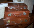 Set of three Vintage Leather Suitcases
