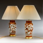 Pair of orange Japanese vases, now lamps ~ SOLD