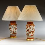 Pair of orange Japanese vases, now lamps image 1