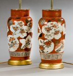 Pair of orange Japanese vases, now lamps