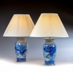 Pair of Blue & White Vases, now Lamps ~ SOLD