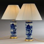Pair Chinese Blue & White Vases, as Lamps image 1