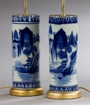 Pair Chinese Blue & White Vases, as Lamps