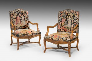 A Fine Pair of Régence Style Fauteuil/Armchairs