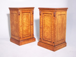 Antique Pair of Birds Eye Maple Bedside Cabinets