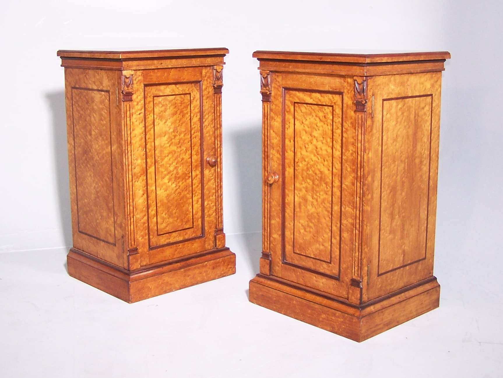 Antique pair of birds eye maple bedside cabinets summers for Birds eye maple kitchen cabinets