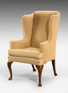 George II Upholstered Wing Armchair