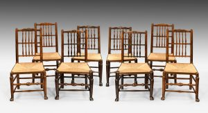 Antique Harlequin Set of Eight Chairs