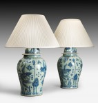 Large Pair Blue & White Lamps image 1