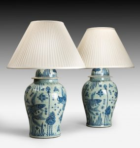 Large Pair Blue & White Lamps