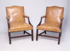 Antique Pair of Library Armchairs
