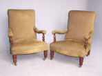 Antique Pair of Library Armchairs ~ SOLD