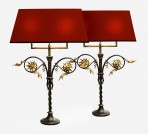 Pair of Wrought Iron Table Lamps