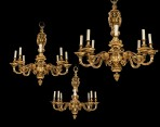 Fantastic Set of Three Gilt Bronze Chandeliers ~ SOLD