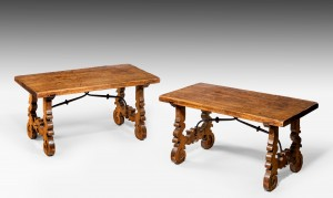 Antique Pair of Low Walnut Tables