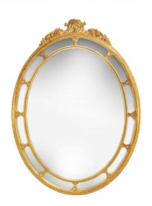Antique Large Oval Mirror