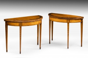 Pair Demi Lune Side Tables