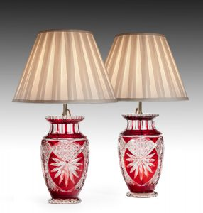 Pair of Cut Glass Lamps